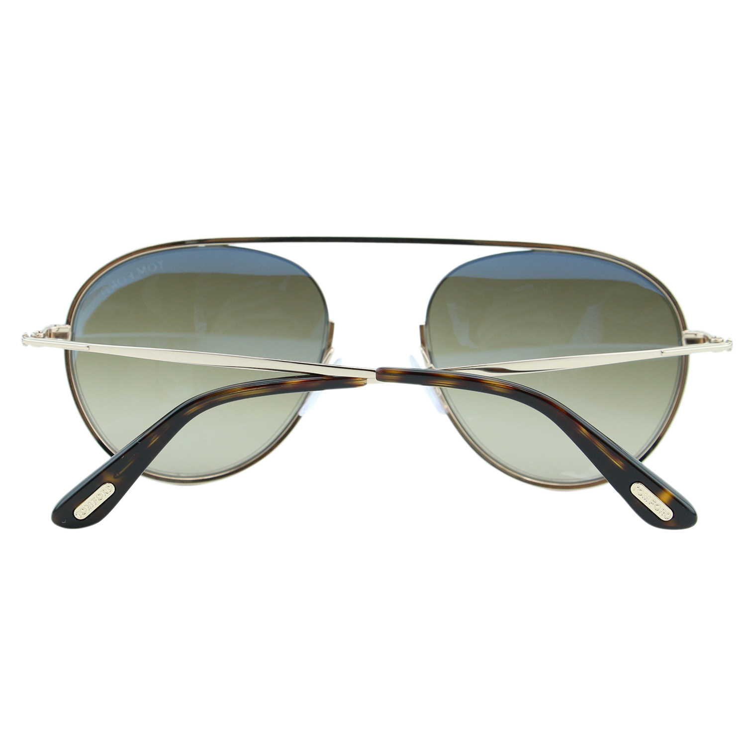 f4ebea0f8aa5 Tom Ford Keith-02 TF-599 28K Men Gold Round Cut-Out Bridge Brow-Bar  Sunglasses