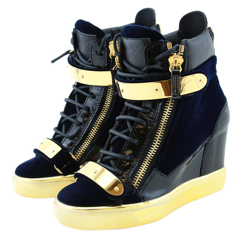 cd7c9016b174 Giuseppe Zanotti Coby Women Blue Velvet   Dual Metal Straps Wedge Sneaker  Shoes
