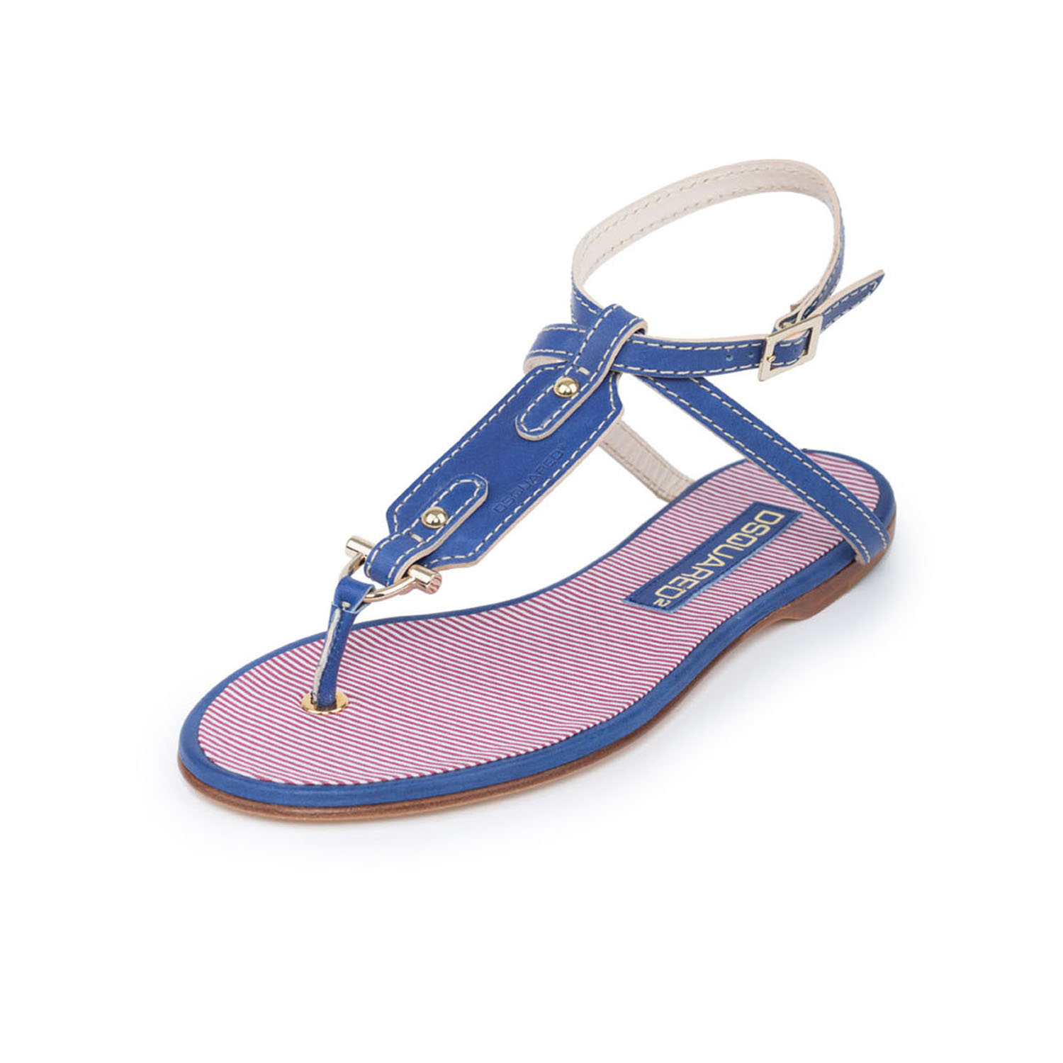 Women Blue Leather & Textile T-Strap Flat Sandals Ankle Wrap Shoes